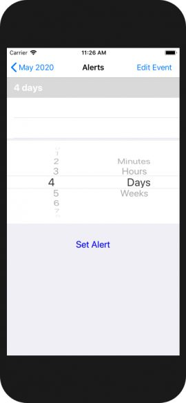 Set alerts from 0 minutes to 99 weeks before an event